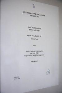 Zulassung Schlichtung